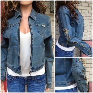 Vintage boho denim tie sleeve zip jacket
